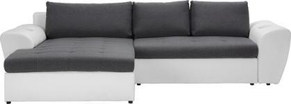 WOHNLANDSCHAFT in Textil Anthrazit, Weiß  - Anthrazit/Schwarz, Design, Kunststoff/Textil (204/290cm) - Carryhome