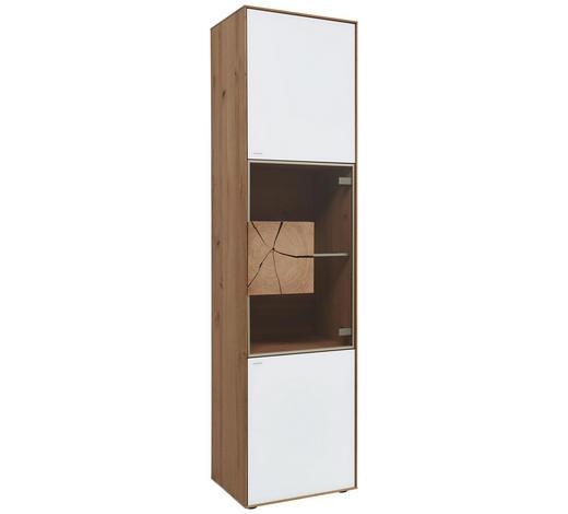 VITRINE  in vollmassiv Kerneiche Weiß, Eichefarben, Transparent - Eichefarben/Transparent, Natur, Glas/Holz (50/196/39cm) - Valnatura