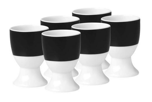 EIERBECHERSET Keramik Porzellan 6-teilig - Schwarz/Weiß, Basics, Keramik (4,5/6,5cm)
