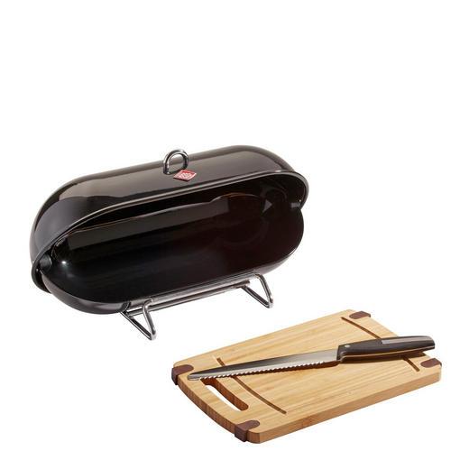 Wesco Breadboy Brotbox - Edelstahlfarben/Schwarz, Basics, Metall (28/43/22cm)