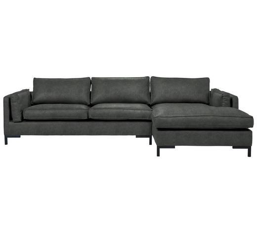 WOHNLANDSCHAFT in Textil Grün - Schwarz/Grün, Design, Textil/Metall (295/160cm) - Hom`in