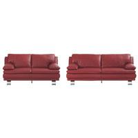 SEDEŽNA GARNITURA  rdeča usnje - aluminij/rdeča, Konvencionalno, kovina/usnje (220/87/94cm) - Celina Home