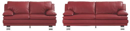 SEDEŽNA GARNITURA  rdeča usnje - rdeča/aluminij, Konvencionalno, kovina/usnje (220/87/94cm) - CELINA HOME