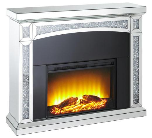 Elektrokamin - Schwarz/Weiß, Trend, Glas/Holzwerkstoff (120,5/99/33,5cm) - Xora