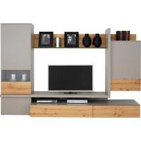 OBÝVACÍ STĚNA, barvy dubu, fango - fango/černá, Design, kov/dřevo (297,5/196,9/55,7cm) - Moderano