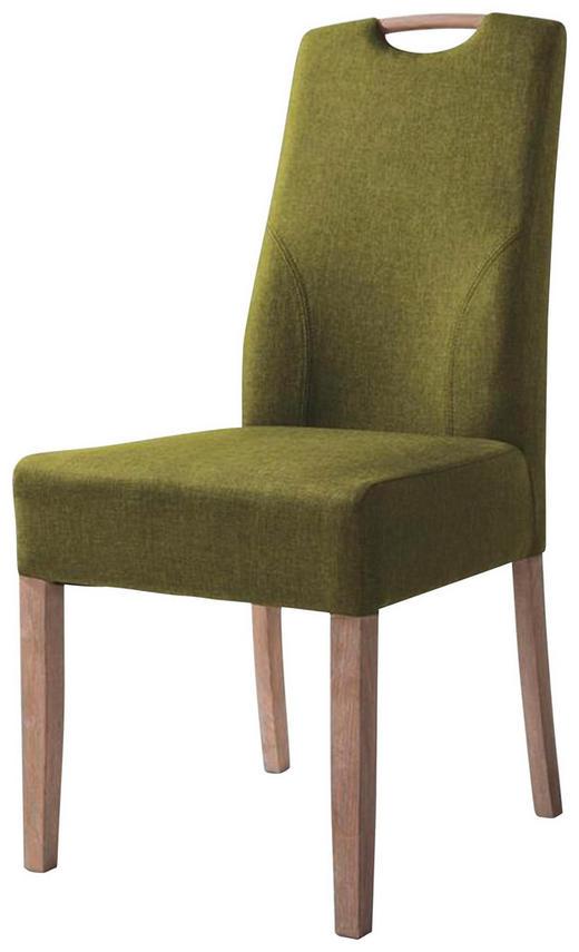 STUHL Flachgewebe Grün - Eichefarben/Grün, Design, Holz/Textil (45,5/96,5/60cm) - Set one by Musterrin