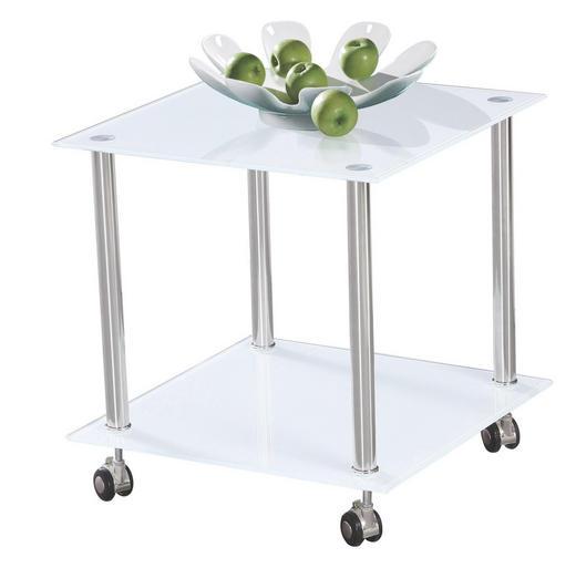 BEISTELLTISCH quadratisch Edelstahlfarben, Weiß - Edelstahlfarben/Weiß, Design, Glas/Kunststoff (45/46/45cm) - Boxxx