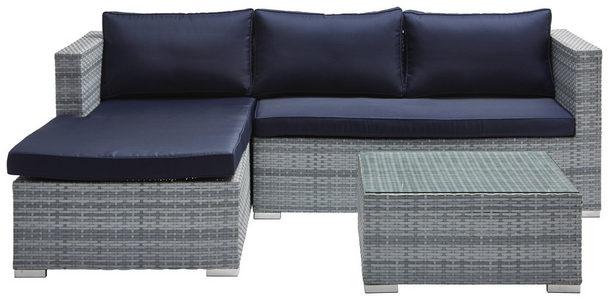 GARNITURA ZA SEDENJE NAPOLJU - Srebrna/Plava, Moderno, Tekstil/Plastika (145/197cm) - Ambia Garden