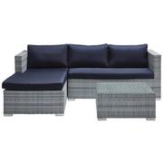 LOUNGE GARNITURA - boje srebra/plava, Moderno, staklo/metal (145/197cm) - Ambia Garden