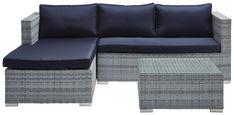 LOUNGE GARNITURA pletivo iz umetne mase železo  - modra/srebrna, Moderno, kovina/umetna masa (145/197cm) - Ambia Garden