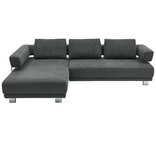 WOHNLANDSCHAFT in Textil Silberfarben - Chromfarben/Silberfarben, MODERN, Textil/Metall (214/297cm) - Valdera