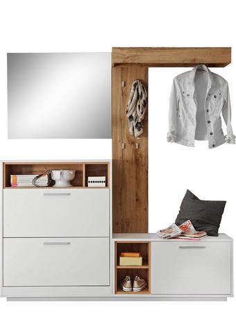 GARDEROBE Weiß, Eichefarben  - Eichefarben/Weiß, Design, Glas (177/196/32cm) - Xora