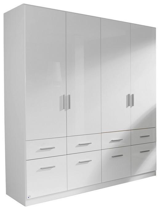 KLEIDERSCHRANK 4-türig Weiß - Alufarben/Weiß, Design, Holzwerkstoff/Kunststoff (181/197/54cm) - Carryhome