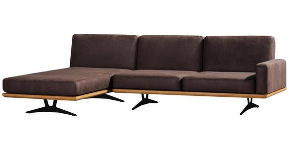 WOHNLANDSCHAFT in Textil Braun  - Schwarz/Braun, Natur, Textil/Metall (170/326cm) - Valnatura