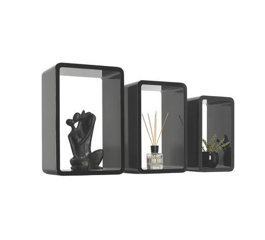 SADA NÁSTĚNNÝCH REGÁLŮ - černá, Design, kompozitní dřevo (45/40/35/30/25/20/20cm) - Boxxx