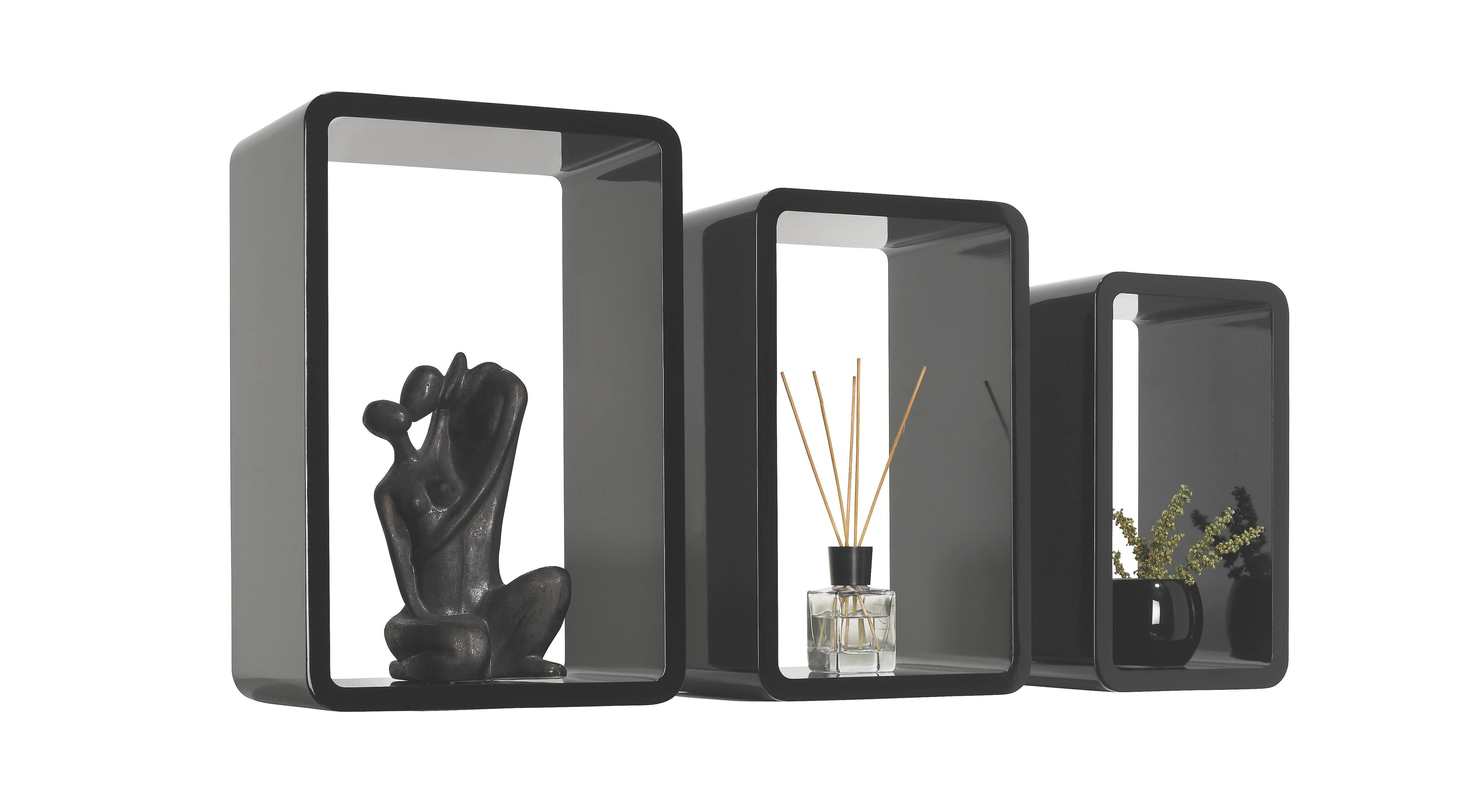 SET ZIDNIH POLICA - crna, Design, drvni materijal (45/40/35/30/25/20/20cm) - BOXXX