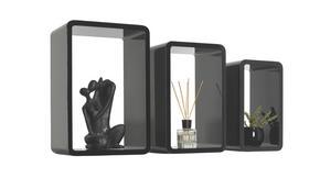 VÄGGHYLLA SET - svart, Design, träbaserade material (45/40/35/30/25/20/20cm) - Carryhome