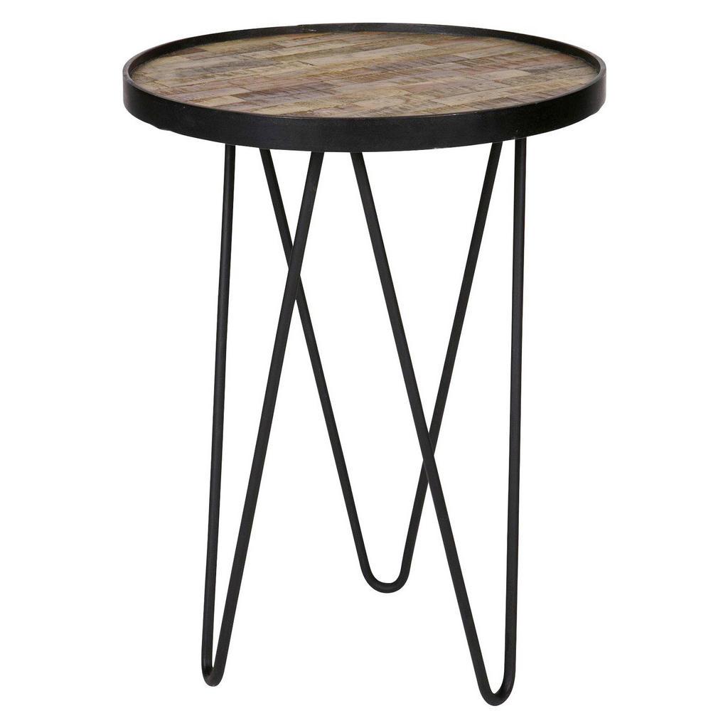 Carryhome BEISTELLTISCH Recyclingholz, Teakholz massiv rund Schwarz   Wohnzimmer > Tische > Beistelltische   Schwarz   Metall   Carryhome