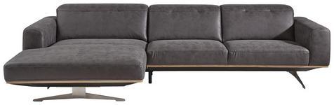 WOHNLANDSCHAFT in Textil Grau, Beige  - Edelstahlfarben/Beige, Design, Textil/Metall (163/311cm) - Dieter Knoll