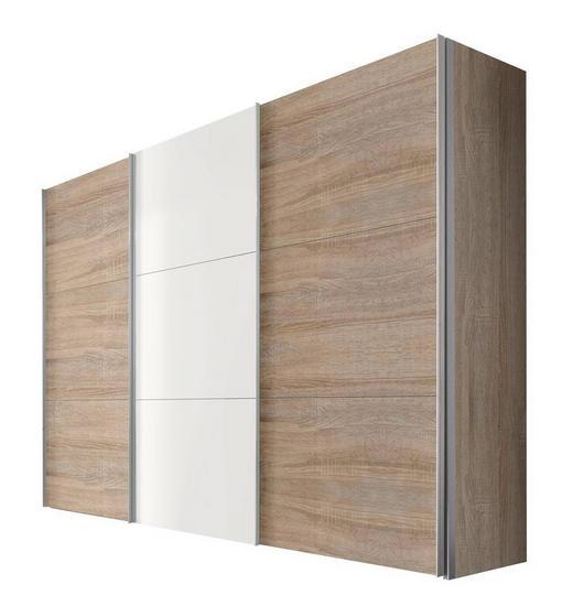 SCHWEBETÜRENSCHRANK 3  -türig Sonoma Eiche, Weiß - Alufarben/Weiß, KONVENTIONELL, Holzwerkstoff/Metall (300/216/68cm) - Hom`in