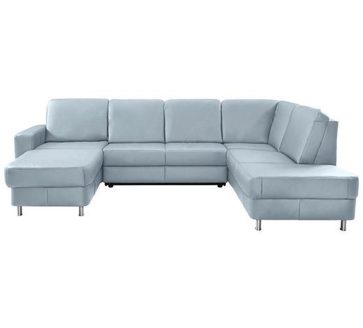 WOHNLANDSCHAFT in Leder Blau - Chromfarben/Blau, Design, Leder/Kunststoff (167/301/198cm) - Xora