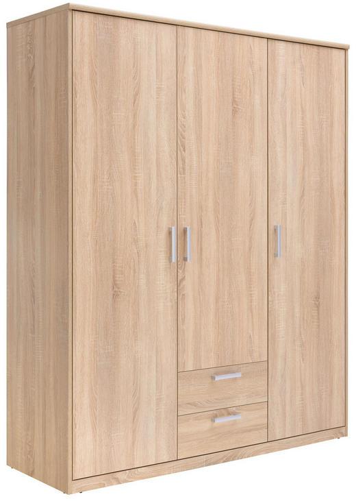 KLEIDERSCHRANK 3-türig Sonoma Eiche - Silberfarben/Sonoma Eiche, Basics, Holzwerkstoff/Metall (157/194/54cm) - Xora