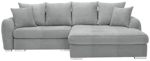 WOHNLANDSCHAFT in Textil Hellgrau - Chromfarben/Hellgrau, Design, Kunststoff/Textil (275/195cm) - Carryhome