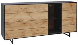 SIDEBOARD 189/81/44 cm - Eichefarben/Anthrazit, KONVENTIONELL, Glas/Holz (189/81/44cm) - Valnatura