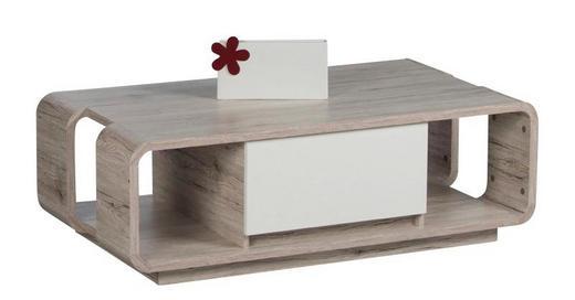 COUCHTISCH Eichefarben, Weiß - Eichefarben/Weiß, Design (122/65/43cm) - Carryhome
