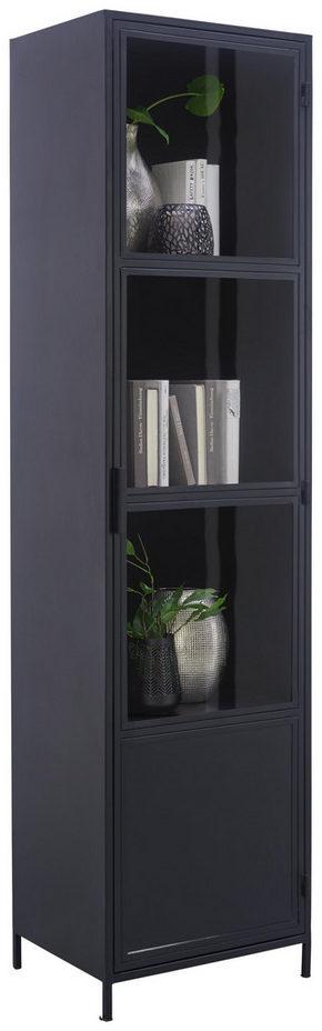 VITRINSKÅP - svart, Trend, metall/glas (50/197/40cm)