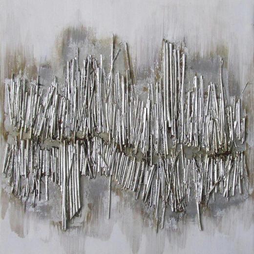 Strukturen ÖLGEMÄLDE - Silberfarben, Design, Holz/Textil (60/60cm) - Monee