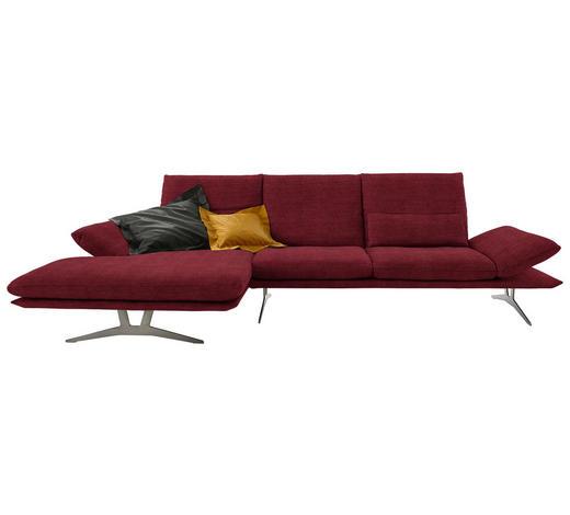 WOHNLANDSCHAFT in Textil Bordeaux  - Bordeaux, Design, Textil/Metall (159/314cm) - Koinor