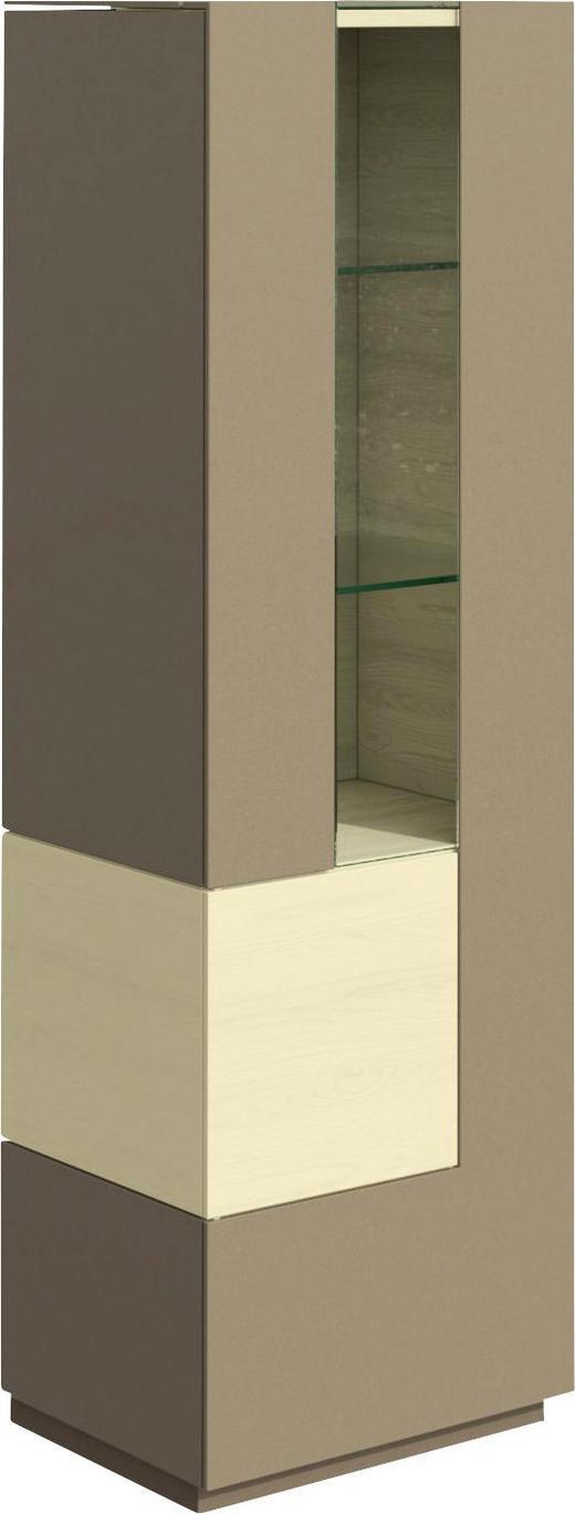 VITRINE in furniert, mehrschichtige Massivholzplatte (Tischlerplatte) Ahorn Ahornfarben, Hellbraun - Hellbraun/Ahornfarben, Design, Glas/Holz (52,8/164,2/42cm) - Hülsta