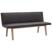Sitzbank in Holz, Leder Dunkelgrau, Eichefarben - Eichefarben/Dunkelgrau, Natur, Leder/Holz (200/86/60cm) - Voglauer