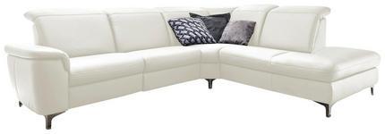 WOHNLANDSCHAFT in Leder Weiß - Alufarben/Weiß, Design, Leder/Metall (289/242cm) - Cantus