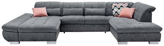WOHNLANDSCHAFT in Textil Grau - Chromfarben/Grau, Design, Kunststoff/Textil (204/350/211cm) - Xora