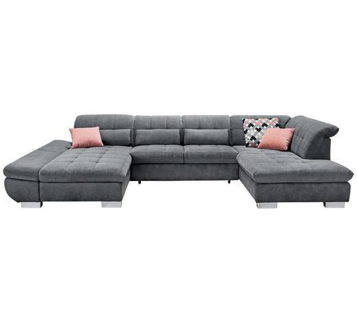 Wohnlandschaft in Grau Textil   - Chromfarben/Grau, Design, Kunststoff/Textil (204/350/211cm) - Xora