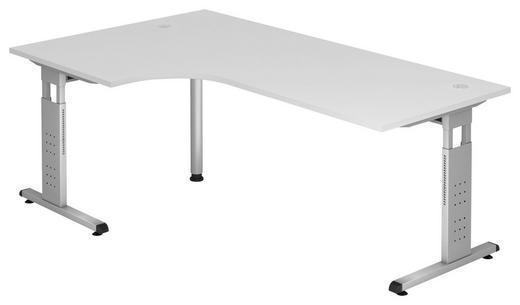 ECKSCHREIBTISCH Weiß - Silberfarben/Weiß, KONVENTIONELL, Metall (200/65-85/120cm)