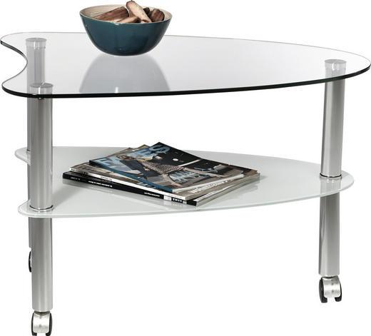 BEISTELLTISCH Klar, Weiß - Klar/Weiß, Design, Glas/Kunststoff (68/46/50cm) - XORA