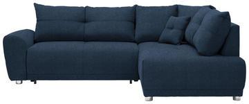 WOHNLANDSCHAFT in Textil Blau  - Blau/Silberfarben, KONVENTIONELL, Kunststoff/Textil (260/205cm) - Carryhome