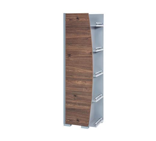 HOCHSCHRANK Nussbaumfarben  - Silberfarben/Nussbaumfarben, Design, Holzwerkstoff (42,5/148/32cm) - Stylife