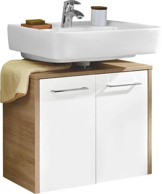 WASCHBECKENUNTERSCHRANK Weiß - Chromfarben/Eichefarben, Design, Holzwerkstoff/Metall (65,3/52,9/32,8cm) - Carryhome