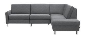 WOHNLANDSCHAFT Flachgewebe - Hellgrau/Alufarben, KONVENTIONELL, Textil/Metall (262/220cm) - DIETER KNOLL