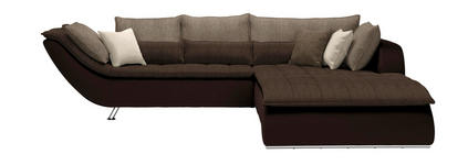 WOHNLANDSCHAFT in Textil Dunkelbraun, Hellbraun  - Taupe/Chromfarben, Design, Textil/Metall (300/220cm) - Hom`in