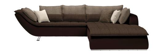 WOHNLANDSCHAFT in Textil Dunkelbraun, Hellbraun - Taupe/Chromfarben, Design, Textil/Metall (300/220/cm) - Hom`in