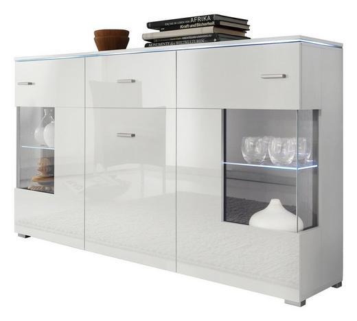 SIDEBOARD Hochglanz, melaminharzbeschichtet Weiß - Silberfarben/Weiß, Design, Glas/Holz (150/91/37cm) - Carryhome