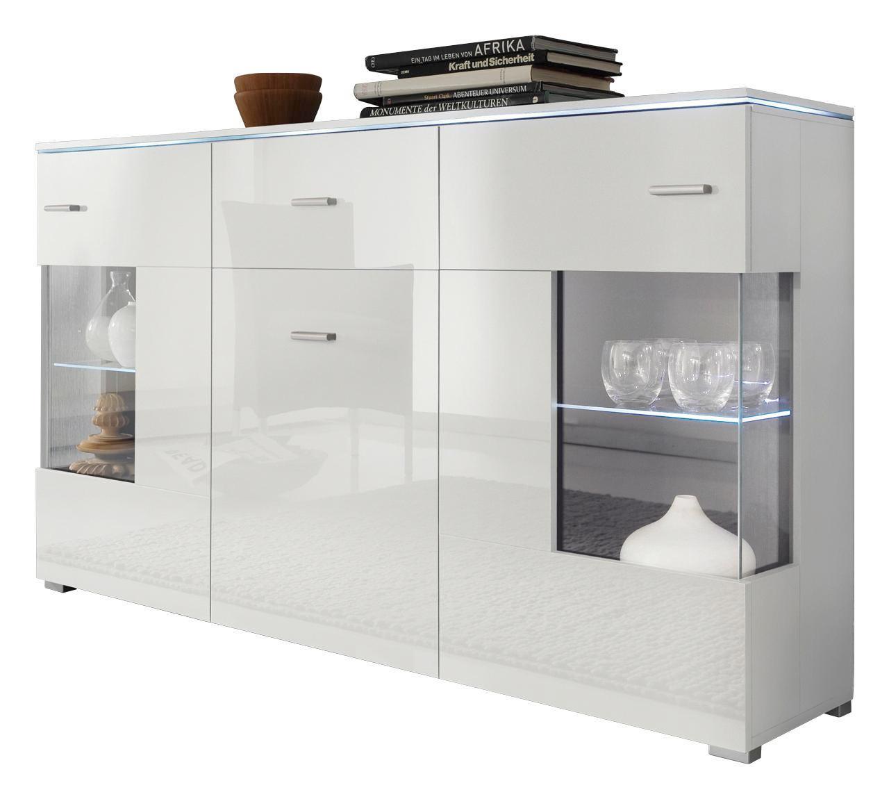 Affordable Excellent Sideboard Hochglanz Wei Design Glasholz With Kommode  Mit Schiebetren Wei With Hngeboard Wei