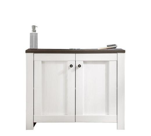 OMARICA ZA POD UMIVALNIK 80/65/41 cm  - bela/rjava, Konvencionalno, umetna masa/leseni material (80/65/41cm) - Venda