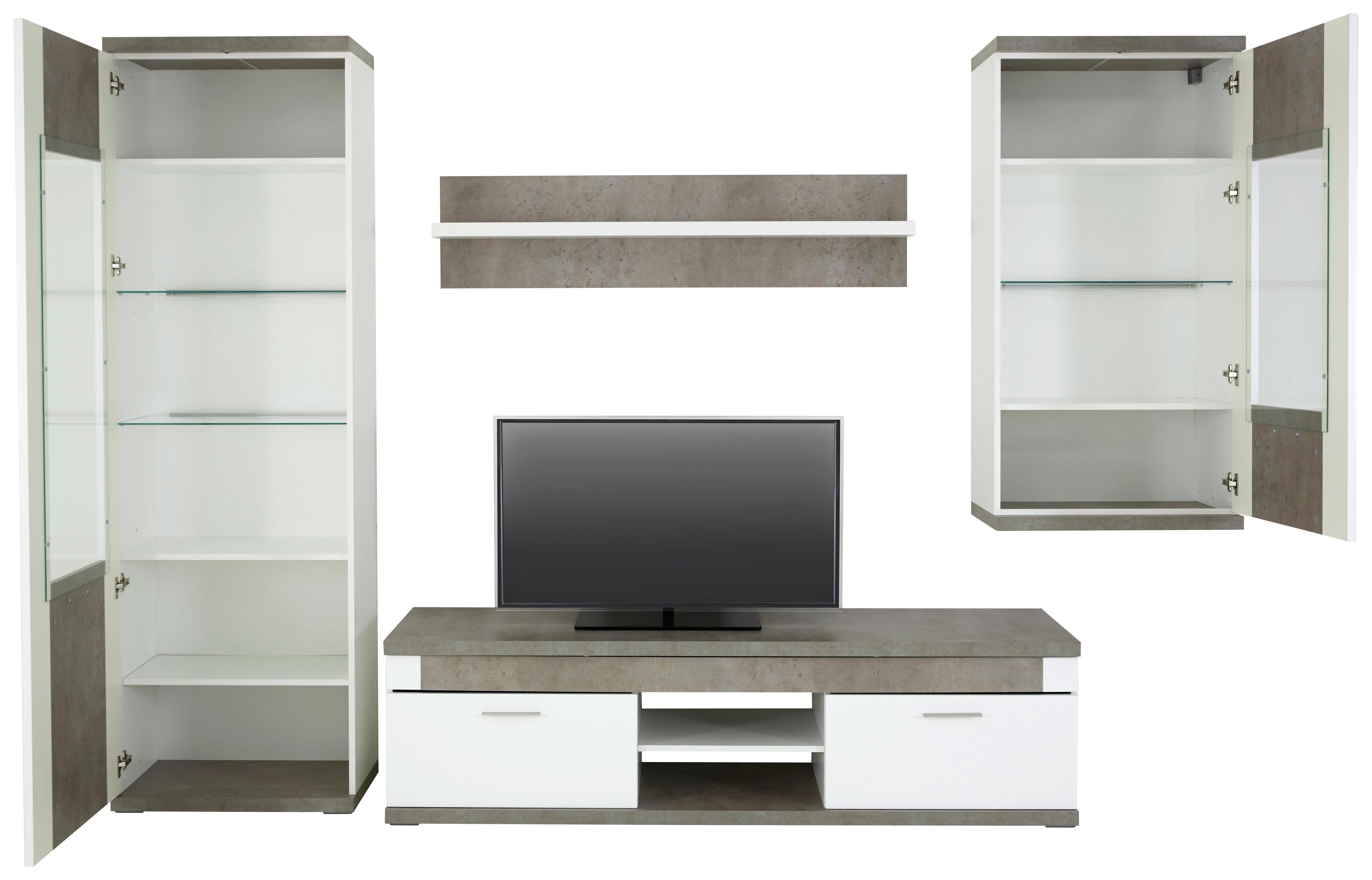 REGAL ZA DNEVNI BORAVAK - Siva/Bela, Dizajnerski, Staklo/Pločasti materijal (300/207/52cm) - Xora