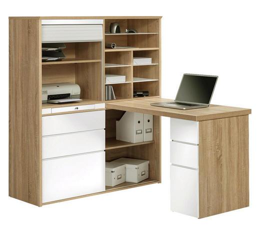MINI-OFFICE Schreibtisch seitenverkehrt montierbar Weiß, Eichefarben - Eichefarben/Weiß, KONVENTIONELL, Glas (126,6/150/187cm)